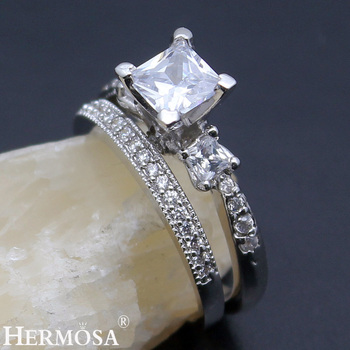 Hermosa Wedding Rings Zircon 1 Pair Rings Engagement Anniversary Jewelry Bridal Bands Ring Size 7# 8#