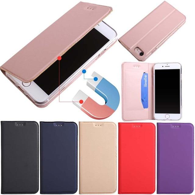 ZEALLION Cho iPhone 5 5 S SE 6 S 7 8 Cộng Với X trường hợp Sang Trọng Siêu Slim Magnetic Wallet Lật PU Leather Đứng Điện Thoại trường hợp
