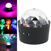 цена на LED USB Charging Mini Voice Activated Crystal RGB Magic Ball Disco Light Laser Projector Effect Karaoke Decoration Light for Bar