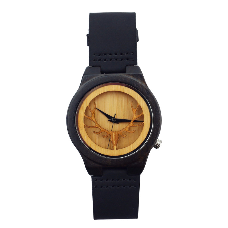 Novel New Arrival Nature Wood Genuine Leather Band Strap Rock Women Deer Quartz Wood Gift Unique Men Simple Wristwatch