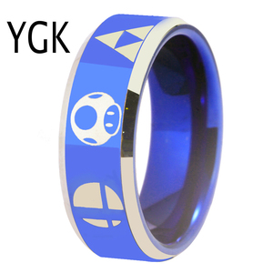 Image 5 - YGK Hot Sales 8MM Tungsten Wedding Band Ring For Women and Men Super Smash Bros Zelda/Metroid/Pokemon/Mario bros/Star Fox Design