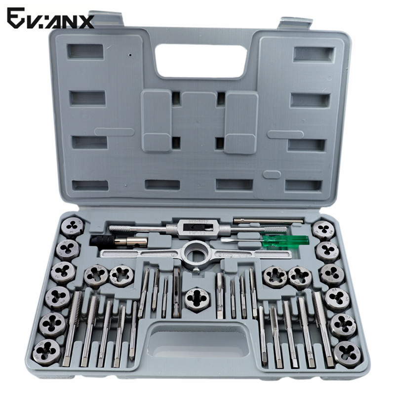 M3-M12 Tap Die Set Metric Plug Tap Alloy Steel Tapping Set Thread Gauges Threading Tool 40PCS 40pcs tap
