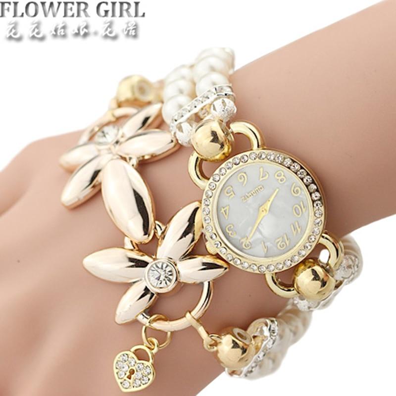Montre fleur avec bracelet de perles pou ...
