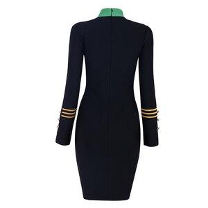 Image 5 - Seamyla 2020 yeni kadın bandaj elbise Vestidos moda nakış ünlü parti elbise seksi siyah Bodycon pist kulübü elbiseler