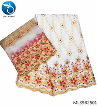 LIULANZHI white bazin riche getzner cotton fabric with embroidery lace flower christmas fabric 2yards scarf 7yards/lot ML39B25 liulanzhi bazin riche getzner african fabric lace fabric new arrival orange 5yards cotton 2yards scarf 7yards lot hlb68