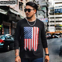 NBHUZEHUA Loosed Printed T Shirt Male Fashion 2017 Autumn New Arrival Long Sleeve Tshirt Men 6xl