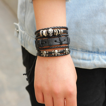 Multilayer Punk Skull Bracelets 1
