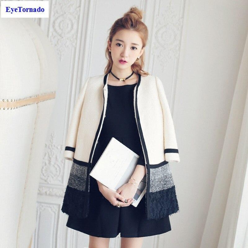 Women flower lace patchwork tweed jacket autumn winter color block casual work O neck office 3/4 sleeve wool coat outwear casaco