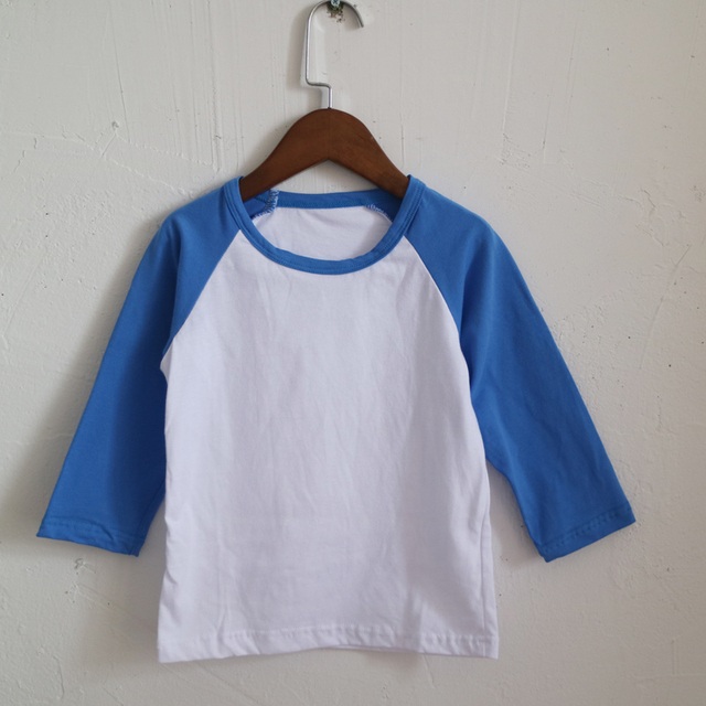6658892d raglan royal blue T-shirts for children wholesale blank plain sleeve shirts  boutique baseball raglan long sleeve T-shirt