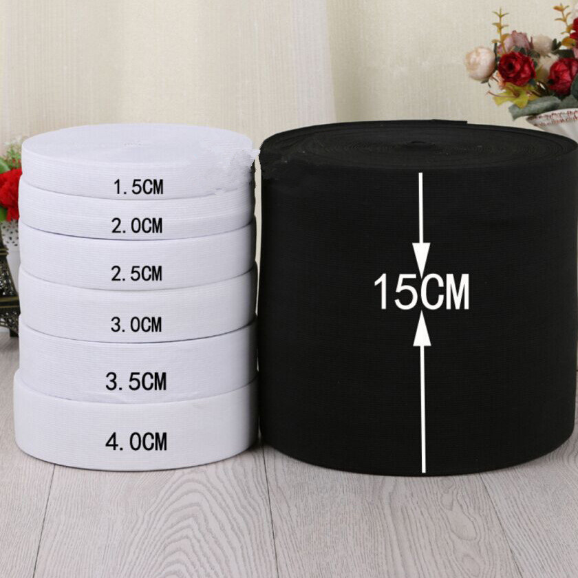 8-40mm*2Meter White Black Flat Elastic Band DIY Crafts Trouser Sewing Accessories Fabric Spandex Elastic Ribbon Webbing Garment