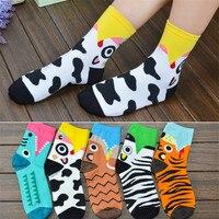 2018 Summer Cartoon Crocodile Tiger Cow Zebra Animals Girls Cotton Funny Socks Cute Fashion Harajuku Short Socks For Female Women Socks