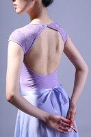 Adult Ballet Leotard Practise Gymnastics Dance Dress Performance Clothing For Women Girl Lace Short Sleeve Jumpsuit
