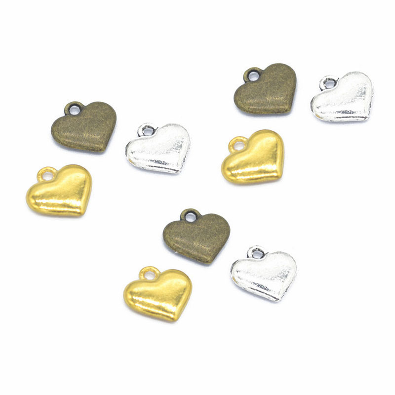 20pcs/lot Alloy Love Heart Shape Beads Charms DIY Pendant Necklace Making Bracelet Charms Handmde Jewelry Accessories Findings thumbnail