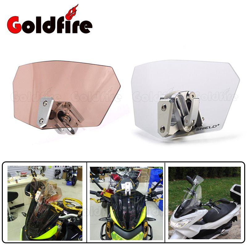 Universal Motorcycle Adjustable Clear Windshield Wind Screen Protector For Honda/Yamaha /Suzuki/Kawasaki/Sport Bike