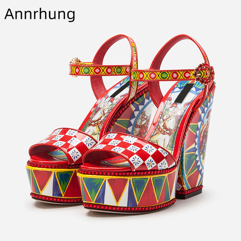 Newest Women Sandals Thick Platform Spike Heel Sandalen Red Mixed Color Printed Shoes Crystal Buckle Ethnic Sandalias Mujer 2019Newest Women Sandals Thick Platform Spike Heel Sandalen Red Mixed Color Printed Shoes Crystal Buckle Ethnic Sandalias Mujer 2019