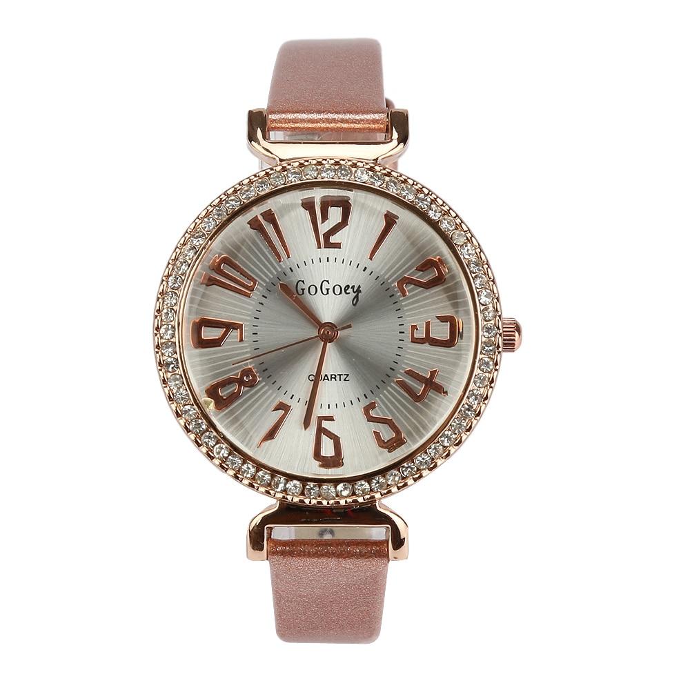 Luxury Gogoey Brand leather watches women ladies men fashion crystal dress quartz wrist watch Relogio Feminino 1881