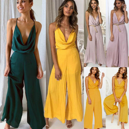 Women's Clothes Sexy Deep V-Neck Jumpsuit Long Trousers Party Jumpsuit  Solid Romper New Fashion