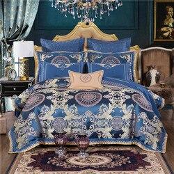 Blauw Luxe Koninklijke Beddengoed set King Queen size Bed set Borduurwerk Satijn Jacquard dekbedovertrek bed/vlakke plaat set bed cover set