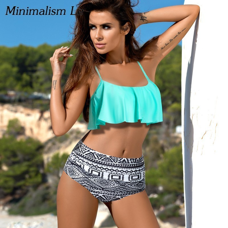 10c156611f8 Minimalism Le 2019 Sexy Bikini Set Women Bikinis High Waist Beach Wear  Print Swimwear Ruffle Striped