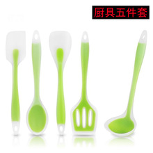 5pcs Utensil Kitchenware set Food Grade Silicone Kitchen Cooking Tools Spatula Spoon Ladle Turner Cooking