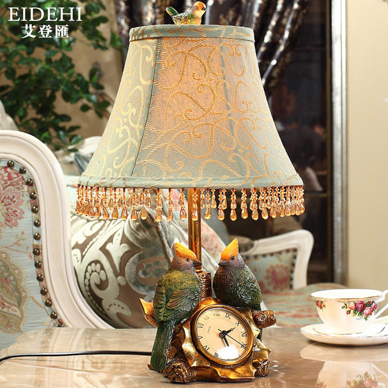 TUDA 34x48cm Free Shipping American Style Table Lamp Tassel Lampshade Bedroom Lamp Bird Figurine Carved With Clock Table Lamp