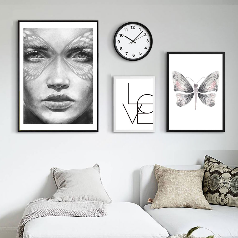Butterfly Poster Nordic Black White Canvas Paintings Art Love Quotes Posters And Prints Girls Abstract Print Unframed