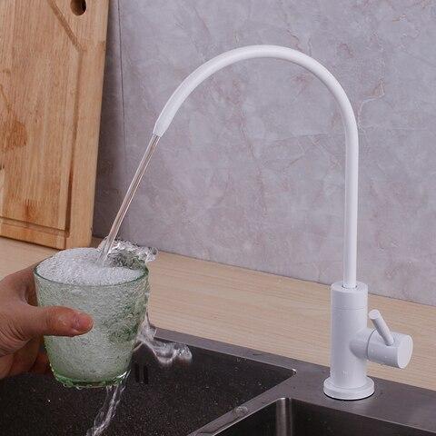 Branco e Preto do Filtro de Água Potável da Torneira em Aço Inox Material Alimentar 304