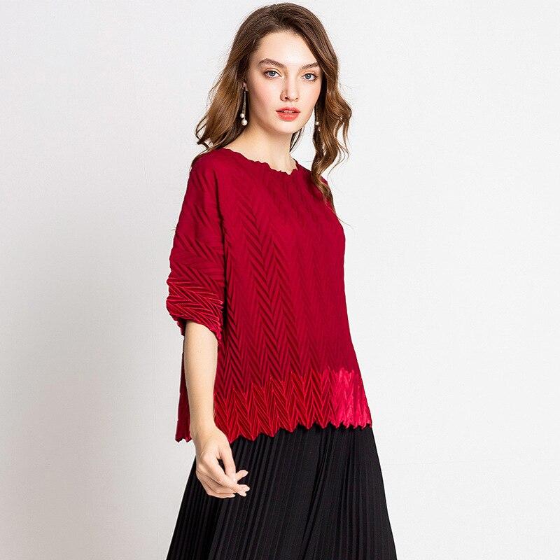 Moda red Casual Blusa Manga Gran Tamaño Black Alta Nuevo Camisas Suelta Plisado Calidad Mujeres Otoño grey Corta De green 4t76U