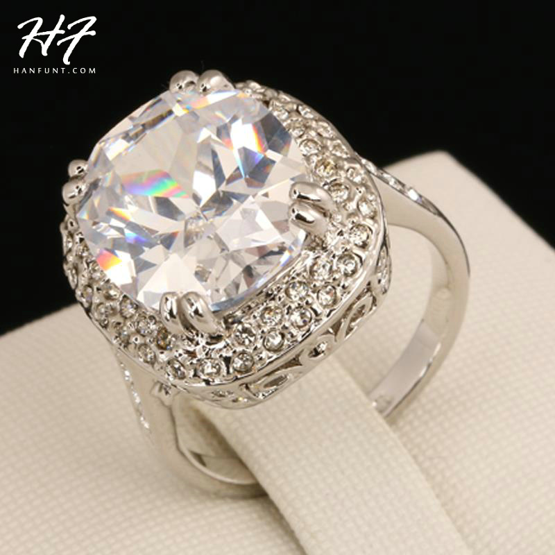 R080 Big Four Claw Real Silver Color Princess Cut Zircon Wedding Ring Made with Genuine Austrian Crystals Wholesale ...