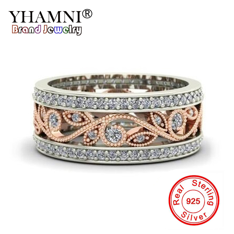 YHAMNI 100% Original Pure 925 Solid Silver Wedding Rings For Women Charm flowers Ring Natural Zircon CZ Gold Color Rings RA0103 punk style pure color hollow out ring for women