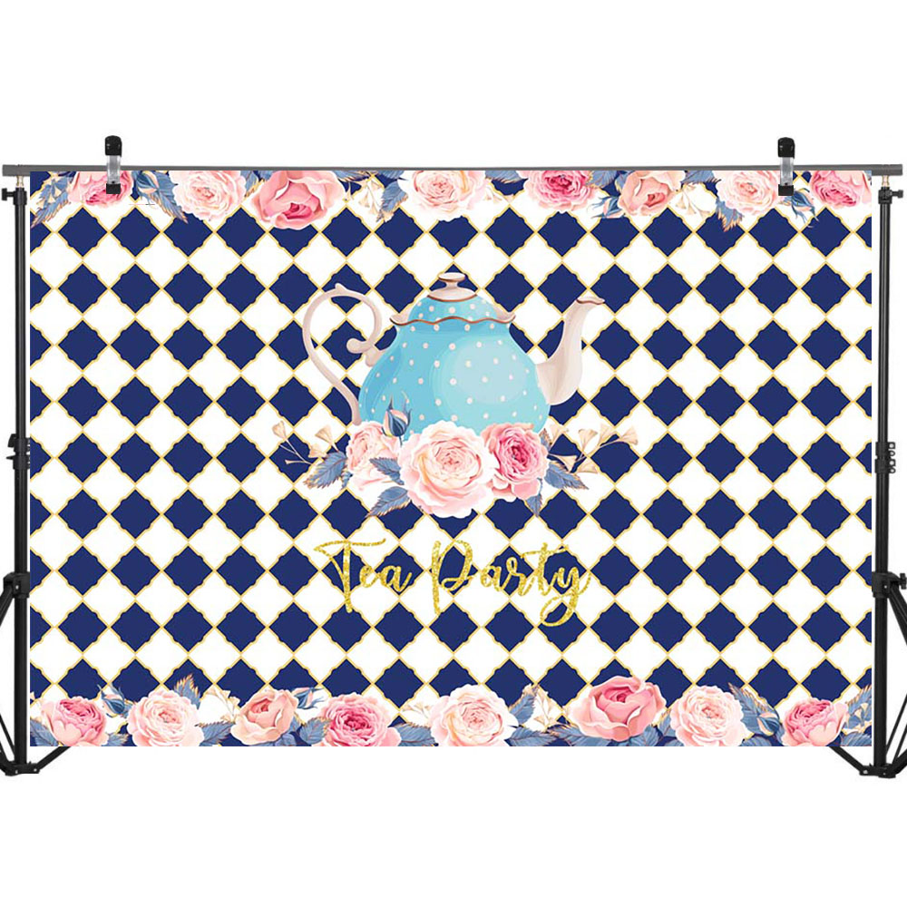 NeoBack Tea Party Backdrop Happy Birthday Party Photography Background Blue and White Lattice Backdrops in Background from Consumer Electronics
