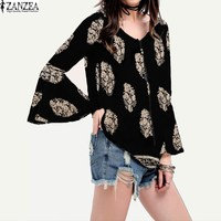 ZANZEA Fashion Womens Ladies Lace Up V Neck Shirt Boho Floral Print Flare Sleeve Casual Loose