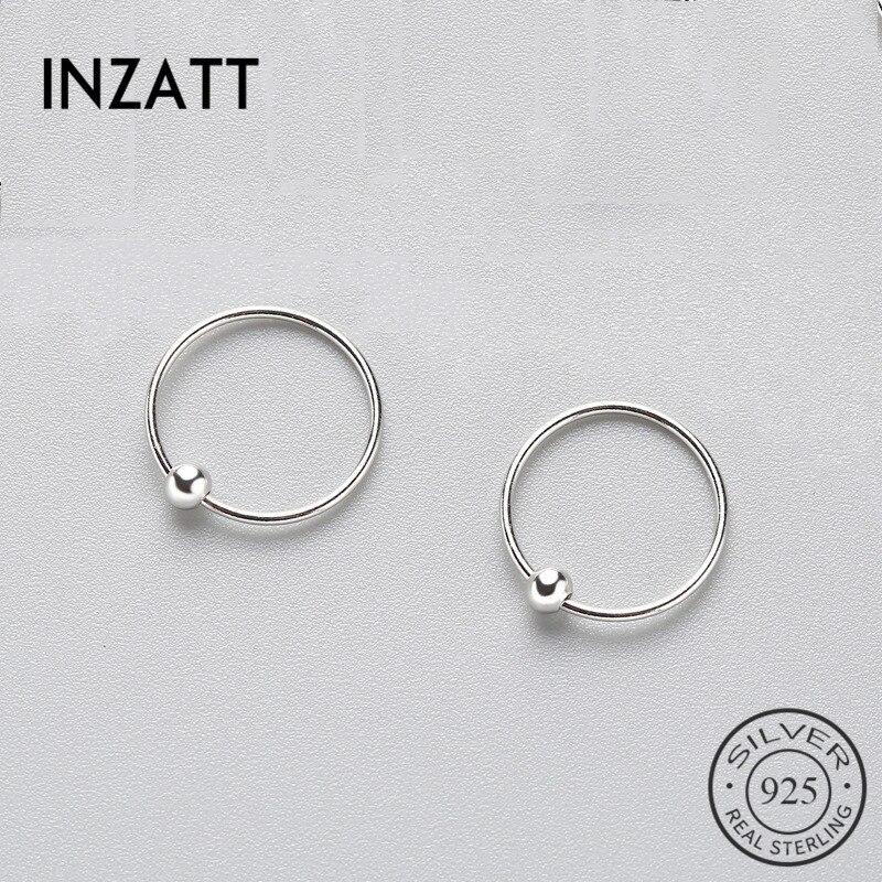 INZATT Minimalist Geometric Round Bead Hoop Earrings 2018 Three sizes For Women Birthday Real 925 Sterling Silver Fine Jewelry