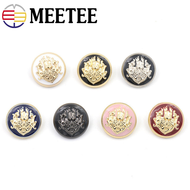 Meetee 10/20pcs 10-28mm Metal Buttons for Shirt Jacket Coat Decor Buckles DIY Sewing Clothing Accessories Craft Material D4-7