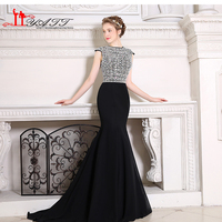 Modest Black Luxury Crystal Mermaid Long Evening Dresse 2017 Real Photo Jewel Neck Evening Gowns China