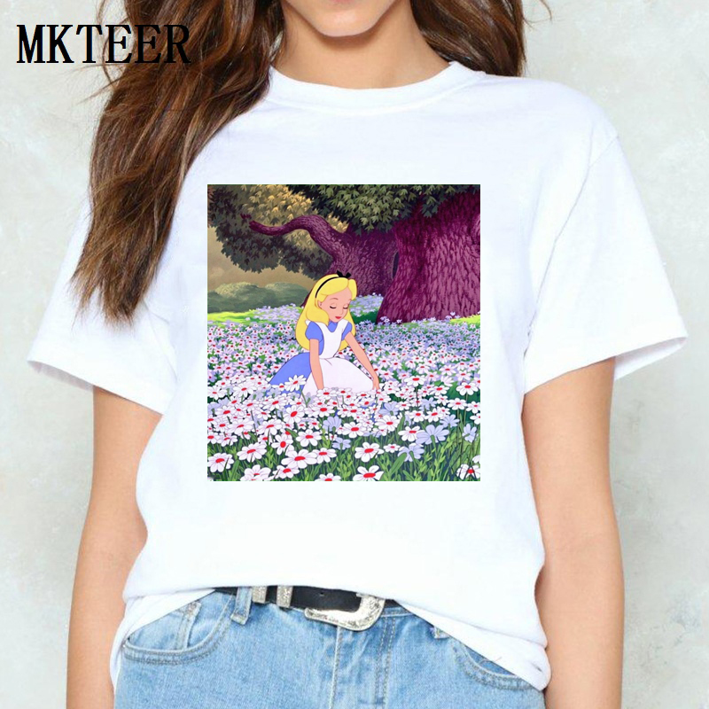 Alice In The Flowers Wonderland Graphic Tees Vogue Women's Tee Shirt Femme Ulzzang Harajuku T Shirt Tops&Tees Summer Streetwear