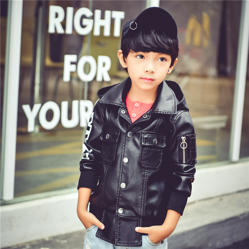 Spring Autumn Kids Jacket PU Leather boy Jackets Clothes Children Outwear For Baby boys jackets 535 2 14t baby boy clothes boys jacket leather spring letter boys outwear for children kids coats for boys baseball sweatershirt