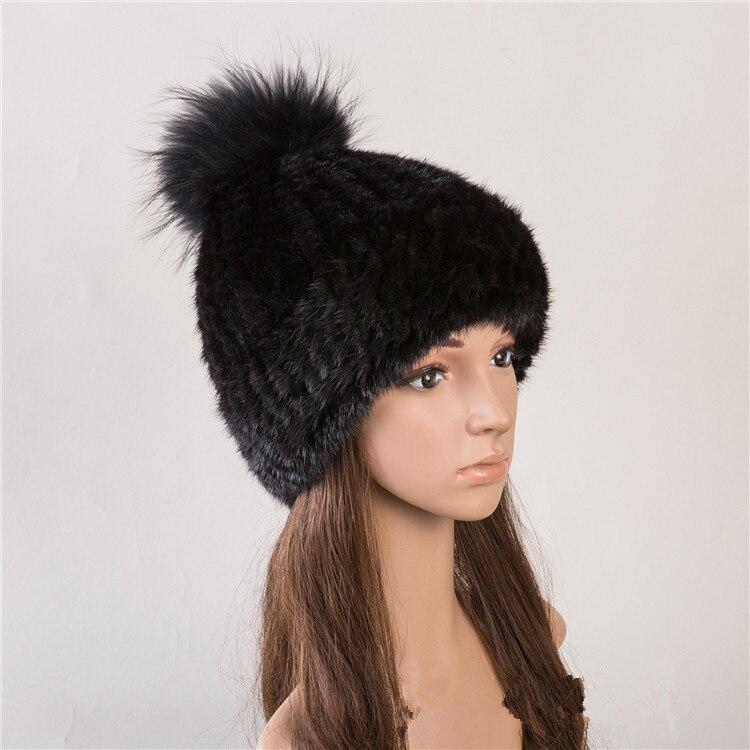 Réel fourrure chapeau de vison naturel fourrure casquettes pour femmes automne 6 couleurs nouveau style fourrure bonnets russe hiver chaud fourrure chapeaux H142 - 2
