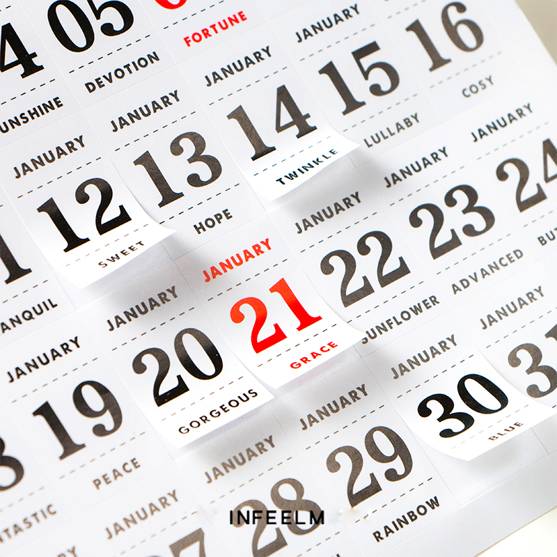 JIANWU 12pcs/set Simple Calendar sticker Perpetual calendar diy sticker notebook sticker