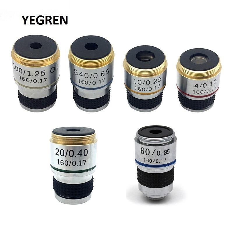 Achromatische Objektiv 4X 10X 20X 40X 60X 100X für Biologische Mikroskop Bio-mikroskop Konjugat Abstand 185 mm