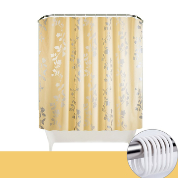 Shower Curtain Flowers | Eco-friendly PEVA Waterproof Shower Curtain Elegant Flower Leaves Bathroom Decor 180x180cm 180x200cm Bathroom Products