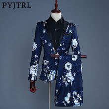 PYJTRL Brand 2018 Tide Men Navy Blue Floral Print Fashion Casual Suits Latest Coat Pant Designs Wedding Groom Stage Costume(China)
