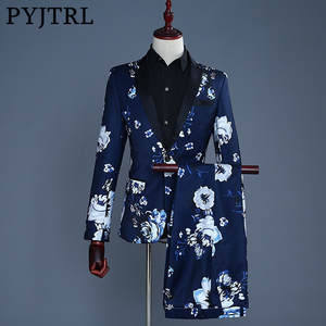 PYJTRL 2018 Men Navy Blue Print Casual Suits Wedding Groom