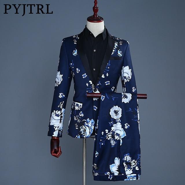 PYJTRL Brand Tide Men Plus Size Navy Blue Floral Print Fashion Casual Suits Latest Coat Pant Designs Wedding Groom Stage Costume