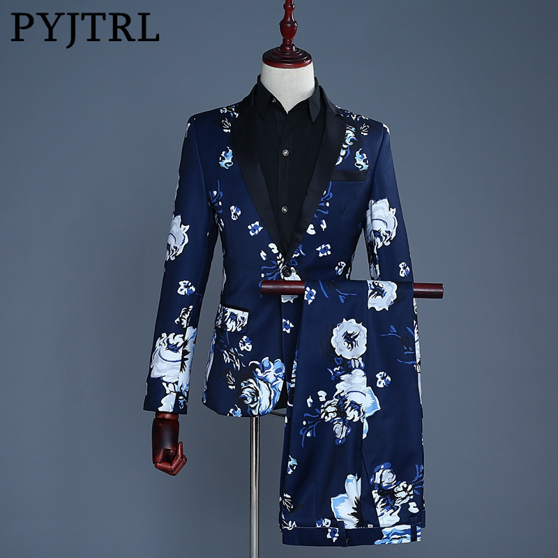 PYJTRL Brand Tide Men Plus Size Navy Blue Floral Print Fashion Casual Suits Latest Coat Pant Designs Wedding Groom Stage Costume