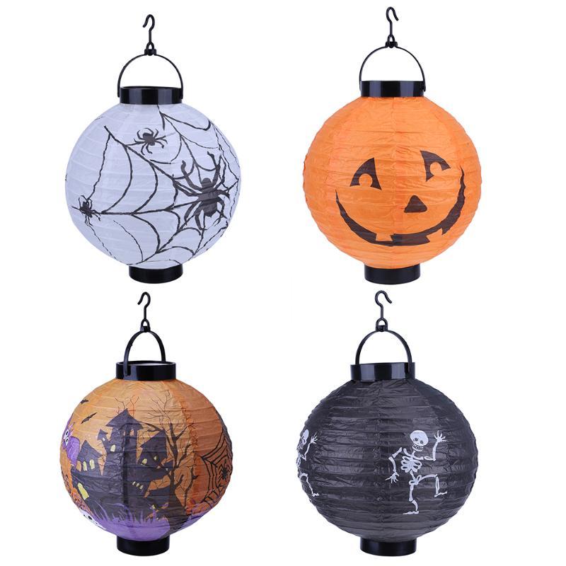 halloween decoration led paper pumpkin light hanging lantern lamp halloween props outdoor party supplieschina