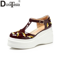DoraTasia Fashion good quality Cow Patent Genuine Leather Round Toe Shoes Woman sandals t-strap Platform Shoes