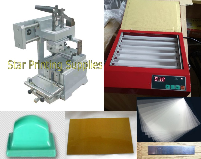 Manual Pad Printer Printing Machine + UV exposure polymer plate maker package with supplies tabletop electric pad printing machine small pad printing machine mini pad printing machine