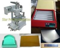 Máquina de impresión de almohadilla Manual + placa de polímero de exposición UV, paquete con suministros