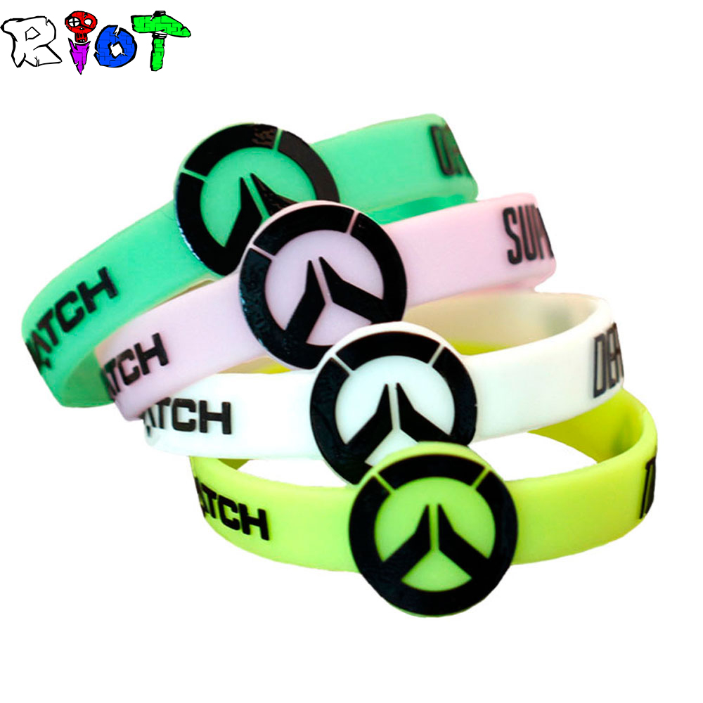 FPS Game Overwatch Silicone Bracelet OW LOGO Men Jewelry Glow In The Dark Charms Men Women Movement Wristband Cosplay Fans Gift